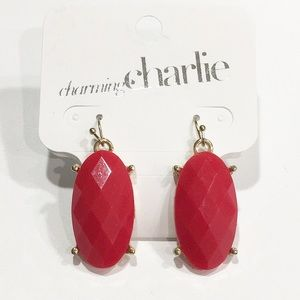 Charming Charlie red gold drop earrings NWT
